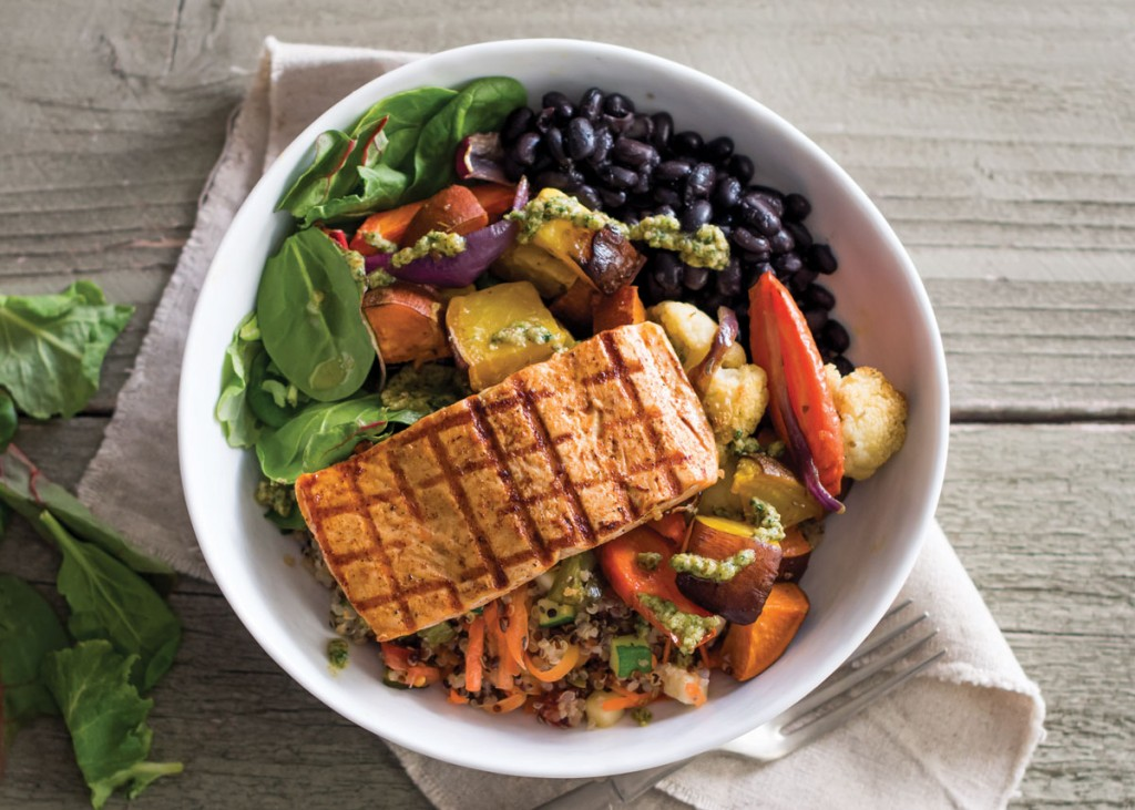 Roasted Veggie Bowl with Wild Caught Alaska Salmon