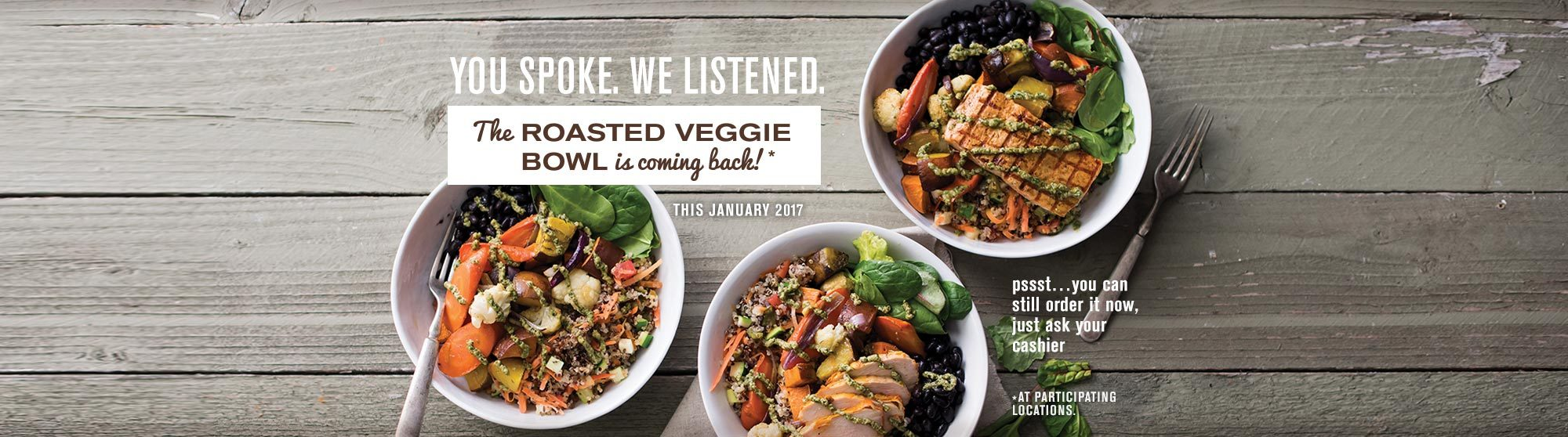 The Roasted Veggie Bowl is Coming Back