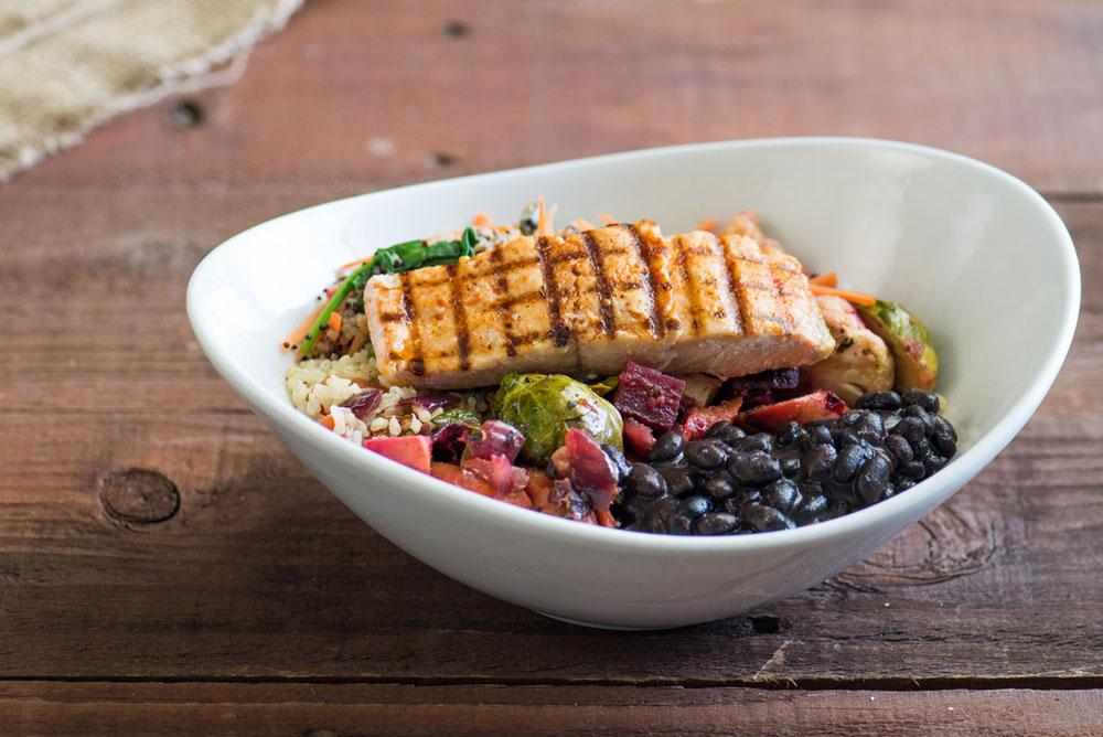 Roasted Vegetable Bowl with Wild Alaska Salmon