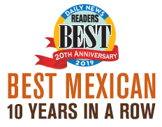 Sharky's Voted Best Mexican 10 years in a row - Daily News Readers Best Choice 2019