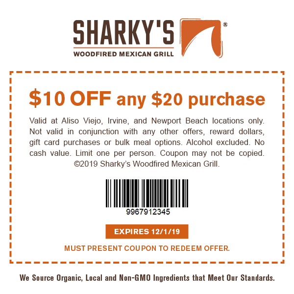 Sharky's $10 OFF any $20 purchase coupon. Expires 12/01/19.